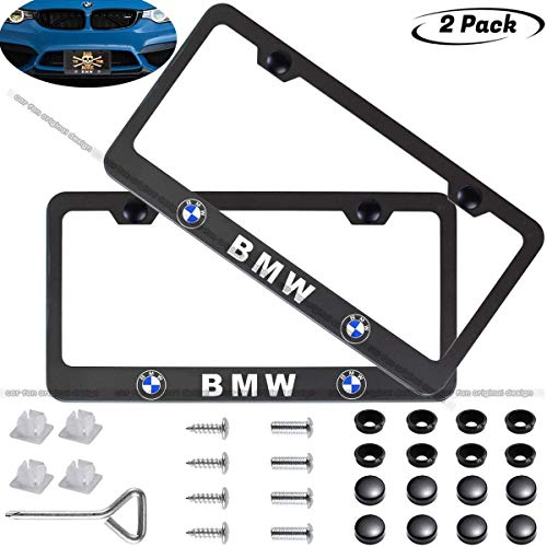 2-Pieces Newest Matte Aluminum Alloy License Plate Frame for BMW,Applicable to US Standard car License Frame,FBA Fast Delivery(Native BMW)…
