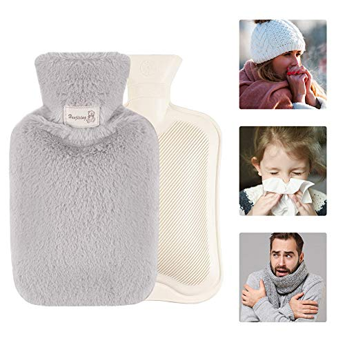 Wärmflasche,Wärmflasche mit Bezug,Wärmflaschen,Wärmflaschen Bezug,Wärmflasche mit Abnehmbar Plüschdeckel,Waschbar,Geeignet für alle Jahreszeiten,Das beste Geschenk für Familie,Freunde, Kollegen(grau)