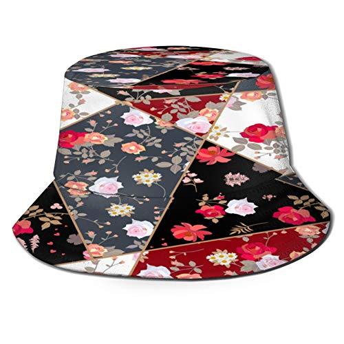 PUIO Sombrero de Pesca,Telas de patrón de Patchwork Edredón de Flores Rosas,Senderismo para Hombres y Mujeres al Aire Libre Sombrero de Cubo Sombrero para el Sol