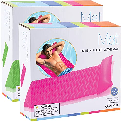 """Inflatable Pool Rafts for Adults [Set of 2] Wave Mats 90"""" X 34"""" - Pool Floats with Headrest -..."""