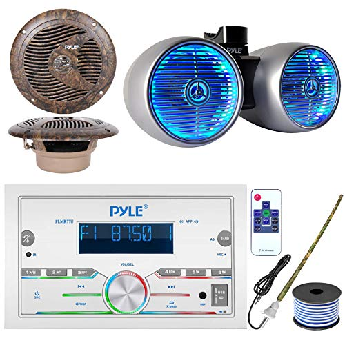 Pyle Double DIN AM FM Stereo USB AUX Bluetooth Marine Power Receiver Bundle Combo with 6.5  400W Wakeboard Silver Marine LED Speakers, 2X 6.5   Full Range Camo Stereo Speakers, Antenna, 18 Gauge Wire