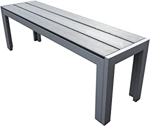 TRUESHOPPING Malmo Polywood Outdoor Bench with Aluminium Frame in Grey 130 x 42 x 33 cm