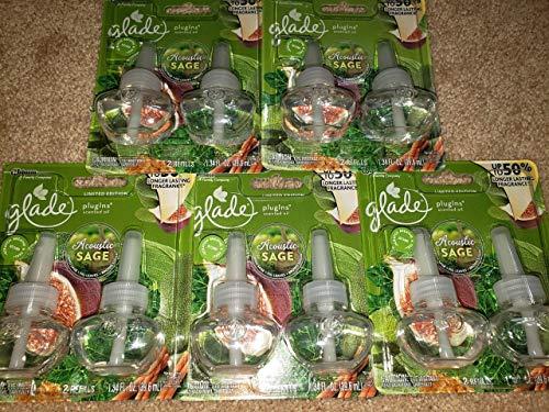 10 Glade PlugIns Acoustic Sage Oil Refills - Dried Sage Fig Brown Sugar 5 Packs