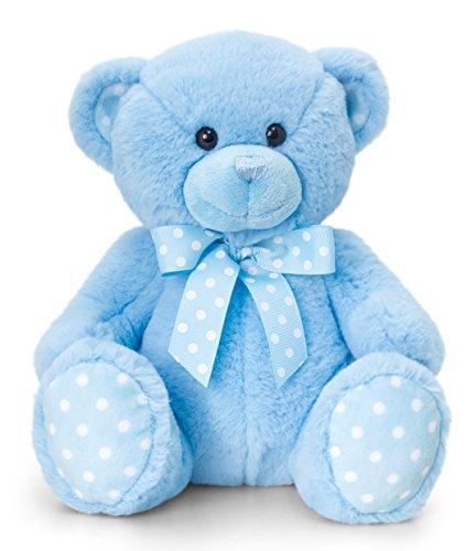 Lashuma Keel Baby Plüschtier Bär Blau, Kuscheltier Teddy sitzend 25 cm