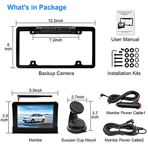 URVOLAX-Wireless Backup Camera License Plate-Monitor Kit 5 inch 1080P HD Universal Reverse-Rear View Camera IP69K Waterproof 170°Wide View Angle,Digital Stable Signal,Easy Installation Fit All Cars