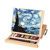 Jacksking Caballete de Mesa de Arte, Caballete de Madera Plegable Ajustable Caballete de Artista versátil Caballete de Mesa portátil con cajón para Pintar y Dibujar