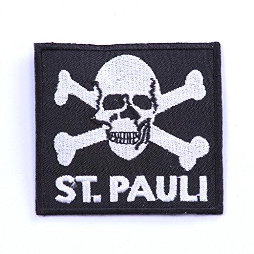 b2see Aufnäher für Jacken Bügelbild Aufbügler Iron on Patches Applikation Aufnäher St Pauli 8 cm