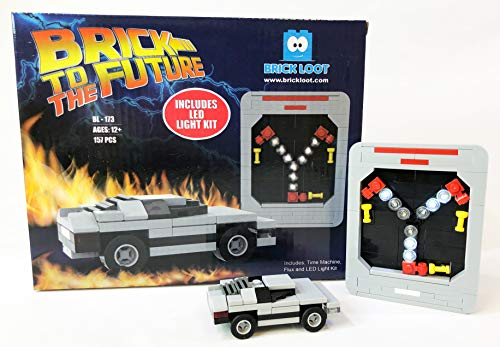 Exclusive Brick Loot Flux Capacitor Set (157 Pieces) Includes The Flux Capacitor, Time Machine Car and a Deluxe LED Light Kit - Custom Designed Model Compatible with Lego and Other Major Brick Brands