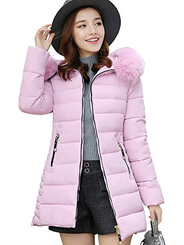Chaqueta Abrigo Parka Espesar con Capucha Pelaje Collar de Invierno para Mujer Pink S