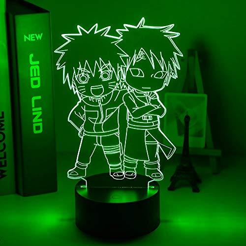 Anime japonés lindo Naruto y Gaara figura 3D llevó luz nocturna para niños decoración de dormitorio mejor regalo de cumpleaños para niños lámpara de mesita de noche