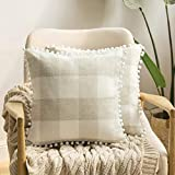 MIULEE Set of 2 Retro Farmhouse Buffalo Plaid Check Pillow Cases with Pom-poms Decorative Throw Pillow Covers Cushion Case for Sofa Couch 20x20 Inch Cream and Beige