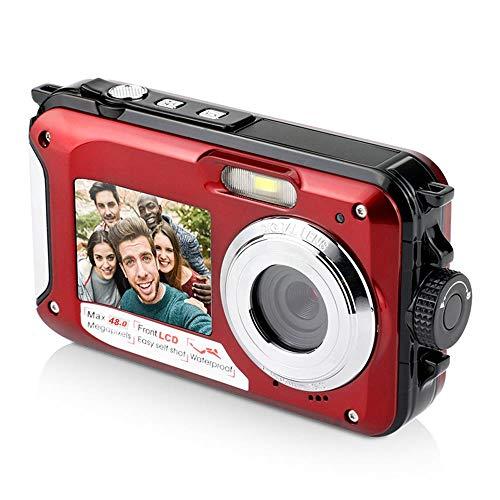 Syan Fotocamera Digitale Impermeabile Subacquea da 48 MP, videocamera con Doppio Schermo per Selfie con Zoom Digitale 16x, Perfetta per Le tue attività Come Lo Snorkeling, Il Campeggio