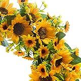 LGYKUMEG Guirnalda Artificial del Verano de la Guirnalda de Girasol - 16'Corona de Flores Decorativa Decorativa para la Puerta Interior Decor de Pared Interior,16in