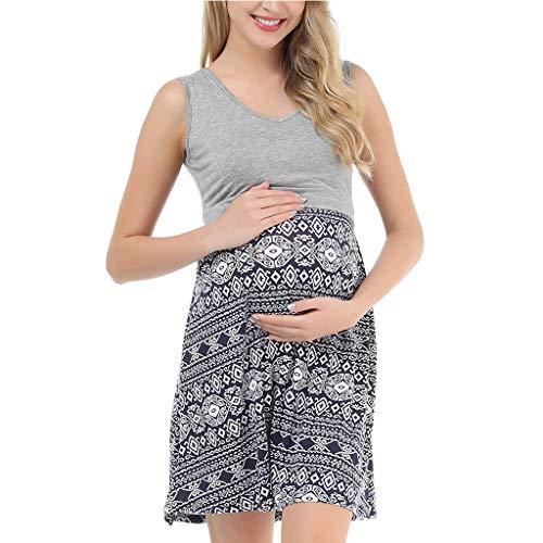 PAOLIAN Vestidos de Maternidad Corto Verano Lactancia Casual Vestidos de Mujer Embarazadas Fiesta Talla Grande Sin Mangas Ropa Premamá Elegantes Playa Estampados