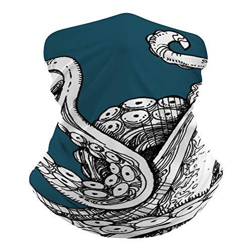 Octopus Art Neck Gaiter Mask Cooling Summer Face Cover Scarf Breathable Bandana Seamless Balaclavas Headband for Men Women