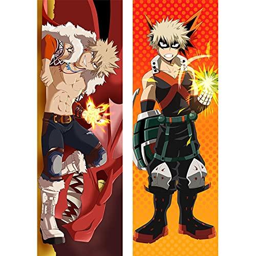 Anime My Hero Academia Dakimakura Funda de Almohada para Cama Corporal Katsuki Bakugou Accesorios de Cosplay Otaku Sexy BL Funda de cojín para Hombre Regalo 50X150cm