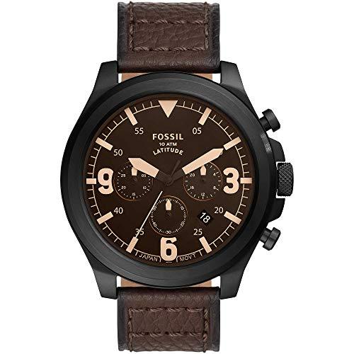 FOSSIL Latitude FS5751 - Reloj cronógrafo con correa de piel marrón para hombre