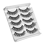 LIDDY False Eyelashes, 3D Faux Mink Fake Eyelashes Handmade Dramatic Thick Crossed Cluster False Eyelashes Black Nature Fluffy Long Soft Reusable(5 Pairs) (3D-52)
