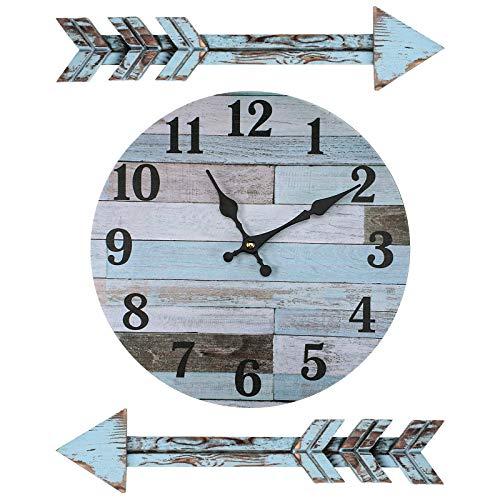 Jetec Decoración Rústica de Reloj de Pared Reloj Silencioso de Granja Reloj de Pared de Costero a Batería con 2 Decoraciones de Pared de Flechas Vintage Colgantes para Cocina Baño