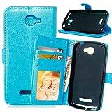 Funda Alcatel Fierce 2 7040T,Bookstyle 3 Card Slot PU Cuero Cartera para TPU Silicone Case...