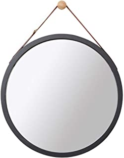 Wall Round Mirror with Adjustable Faux Leather Hanging Strap|Bamboo Framed|Bathroom Wall-Mounted Vanity Mirrors Make-up Co...