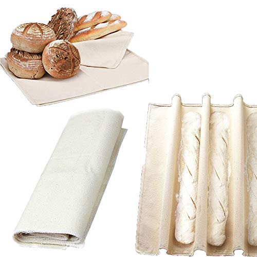 Shiyi Bakers Couche and Proofing Cloth, Dough Couche Natural Flax Linen Cotton Fabric Pastry Proofing Cloth for Baking French Bread Baguettes Loafs-17.71'' x 29.52''