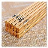 YWJFASHION 5 Pares Reutilizable Natural Bamboo Flatware Chopstick Wood Sushi Chopsticks Juego de vajillas (Color : Thin Fish)