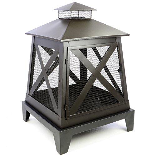 SONLEX Terrassenofen Gartenfeuer Gartenkamin mit Grillfunktion aus Metall Feuerstelle 54 x 54 x 79 cm inkl. Feuerhaken schwarz lackiert