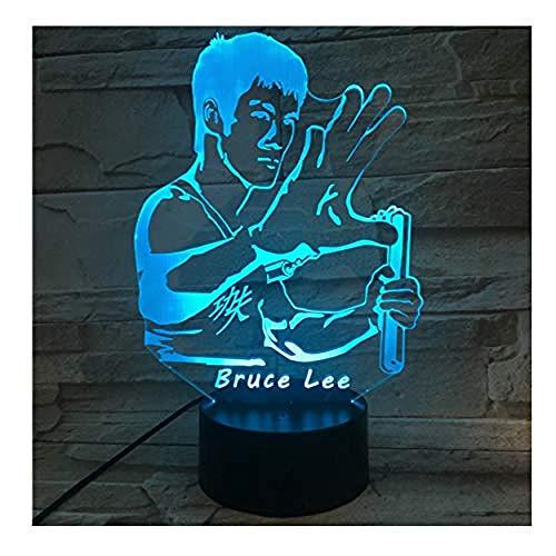 Bruce Lee Kung Fu Starlight 3D-licht LED-nachtlampje 7 kleurvarianten met USB-kabel kindergeschenk