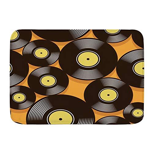 ZOMOY Alfombra de Baño Antideslizante Alfombrilla de Baño,Audio Mosaico Música retro Vintage Vinilo Dj Forma Grabar álbum Disco digital Disco Gráfico Pop Media,Tapete del Piso de Microfibra de Lavable