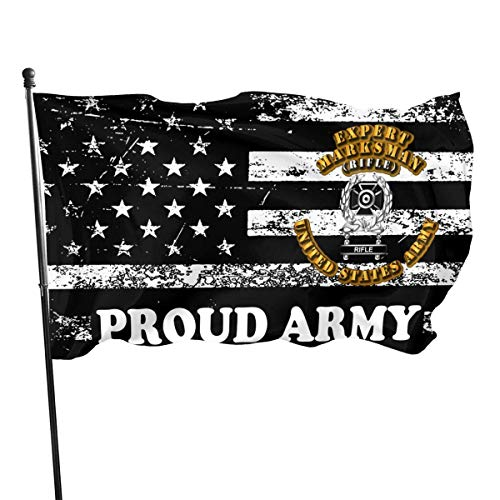 Yuanmeiju Proud Army American Flag by U.S. Veterans Owned US Army Expert Marksman Flag 3x5 Ft