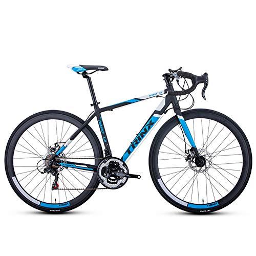 QMMD 21 Vitesses Vélos de Route, Adulte Vélo Ultraléger, Double Frein à Disque Velo de Course Homme, Cadre en Aluminium Léger Vélo de Ville, Vélo Léger,A 700c* 500mm,21 Speed