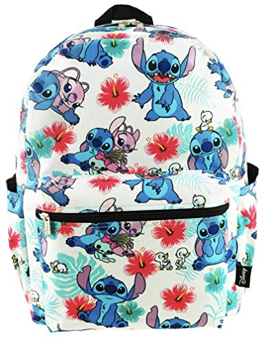 Lilo and Stitch 16 Inch Allover Print Backpack with Laptop Sleeve (White w/Side Pockets)