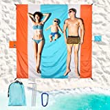 Beach Blanket, 79'×83' Waterproof Beach Mat for 4-7 People, Oversized Lightweight Portable Packable Beach Picnic Mat, Beach Accessories for Outdoor Travel, Camping, Hiking, Picnic, Vacation
