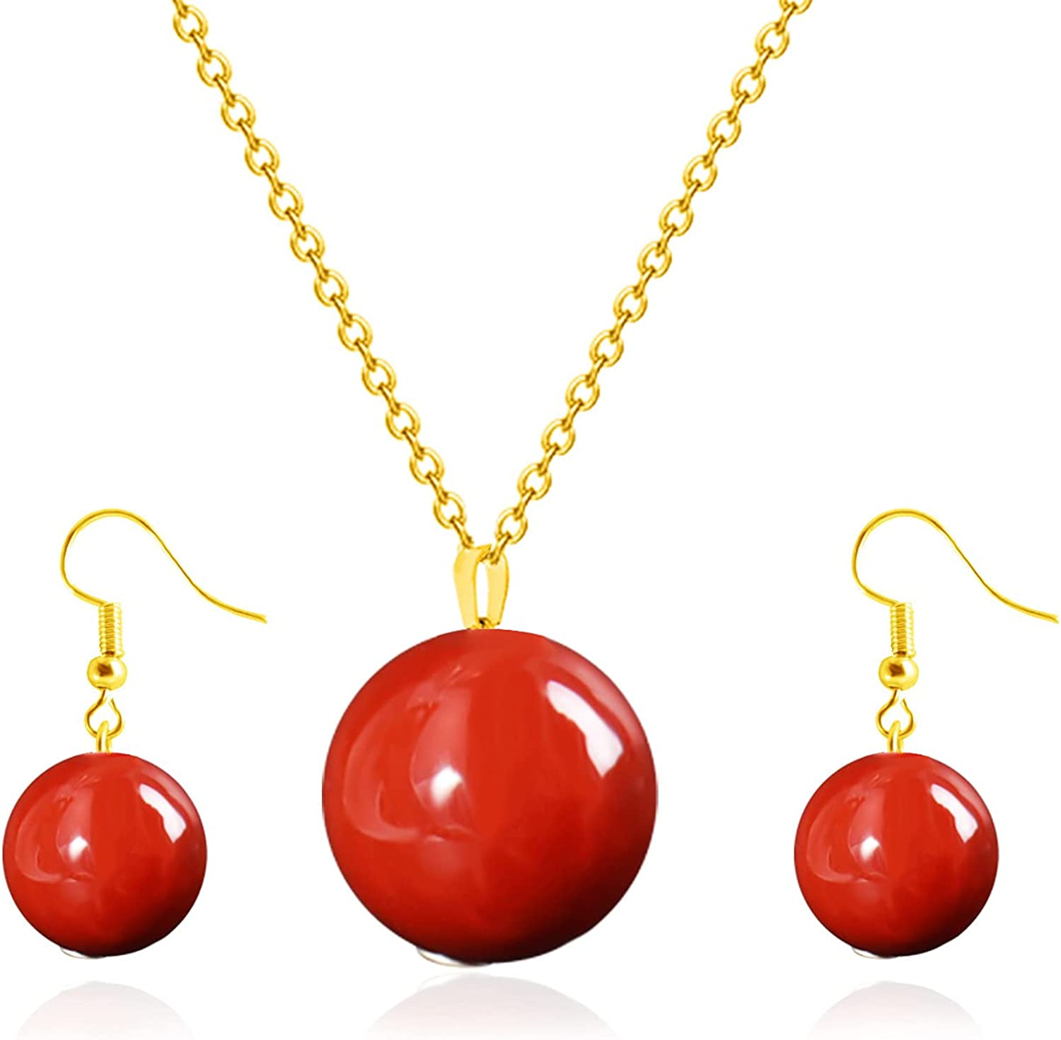 Red Carnelian Agate Healing Crystal Beads Pendant Necklace Natural Stone Drop Dangle Earrings Gemstone Bracelet Ring for Women Girls Protection Wedding Jewelry Set