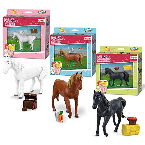 CRAZE Bibi & Tina 3er Set Pferdefiguren Sabrina Amadeus Maharadscha Figur zum Sammeln und Spielen Spielfigur inkl. Zubehör, 31223, bunt