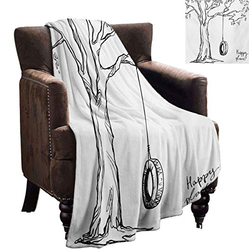 LanQiao Tree Plush Blanket Tree with a Tire Swing Illustration Happy Place Summer Childhood Holidays Garden Women's Gift Ideas 60'x36' Black White