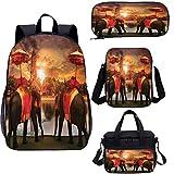 Mochila de 15 pulgadas con bolsa de almuerzo, conjunto de estuche, set de mochila 4 en 1 Sunset Animals Lake