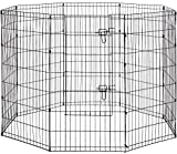 8-Panel Tall Dog Playpen Crate Fence Pet Kennel Play Pen Exercise Cage, 42-Inch, Black