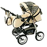 Lux4kids Trío Cochecito 3 in 1 Silla de paseo ruedas fijas + capazo + silla para coche VIP Hecho en Europa Accesorios opcionales iCaddy + Siège auto crema & leopardo
