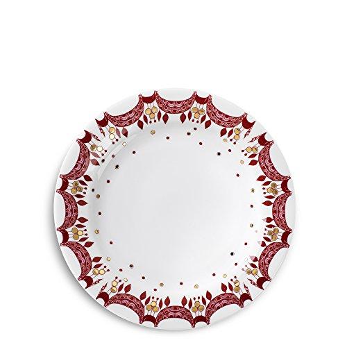 Bjørn Wiinblad Weihnachtsteller 53012, Servierplatte - Durchmesser 20 cm, Höhe 2,4 cm - Porzellan Weiß, Handbemaltes Weihnachtsmuster Rot, Gold