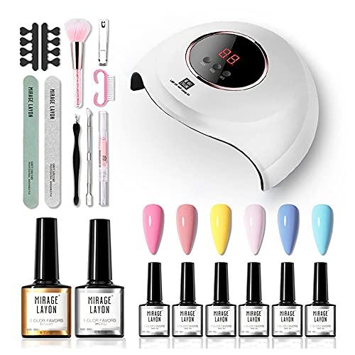 Anself Esmalte Permanente 6 Colors Uñas Semipermanente Lámpara de Uñas de 54W UV / LED con Base y capa superior Kit de Herramientas de Manicura
