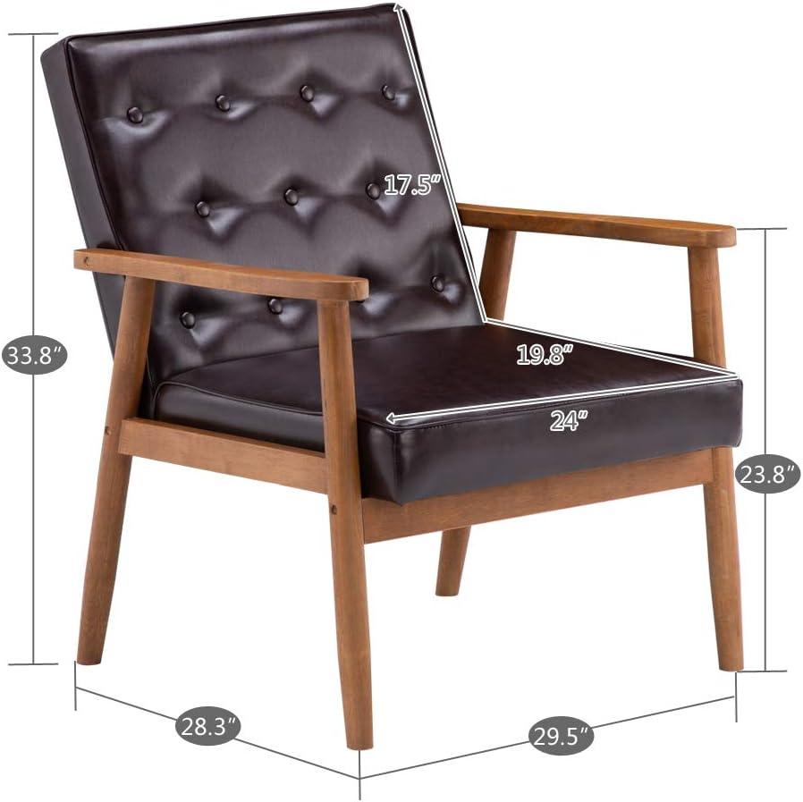 Chaise rembourrée avec coussin simple, 75 x 69 x 84 cm, pieds en bois et siège rembourré confortable, chaise d'appoint pour la maison et les restaurants commerciaux Marron