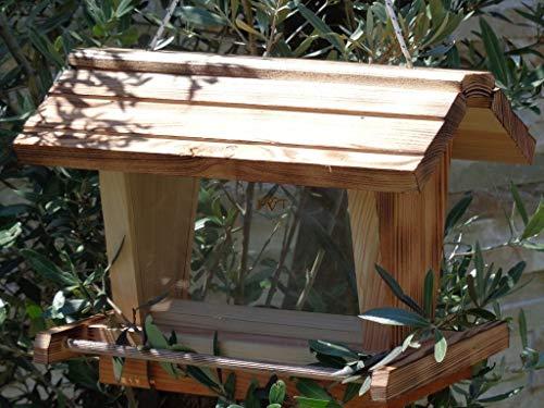 vogelhaus mit ständer BTV-X-VOFU2G-MS-gefla001 Schönes PREMIUM Vogelhaus mit ständer, 3D-SILO – VOGELFUTTERHAUS MIT 2 GROSSEN SICHTSCHEIBEN wetterfestes Vogelfutterhaus MIT FUTTERSCHACHT-Futtersilo Futterstation Farbe geflammt gebrannt (schwarz/natur), Ausführung Naturholz, mit KLARSICHT-Scheibe zur Füllstandkontrolle, 100% Massivholz, QUALITÄTSPRODUKT vom Schreiner - 4