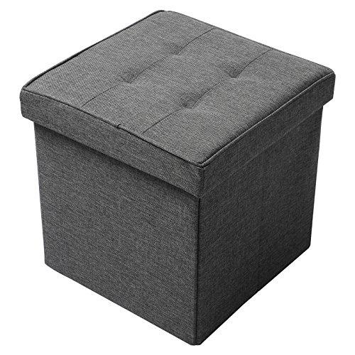 WOLTU Sitzhocker mit Stauraum Sitzwürfel Sitzbank Faltbar Truhen Aufbewahrungsbox, Deckel Abnehmbar, Gepolsterte Sitzfläche aus Leinen, 37,5x37,5x38CM(LxBxH), Dunkelgrau, SH30dgr