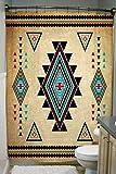 JAWO Southwestern Duschvorhänge für kleines Badezimmer, Südwest Indianer Retro Tribal Navajo Aztec Ethno Muster RV Duschvorhang, Stall Duschvorhang, kleine Größe Polyester Duschvorhang