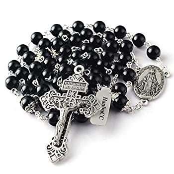 HanlinCC 8mm Black Agate Natural Stone Beads Large Rosary with Caps for Glory Beads with Miraculous Medal and Pardon Crucifix