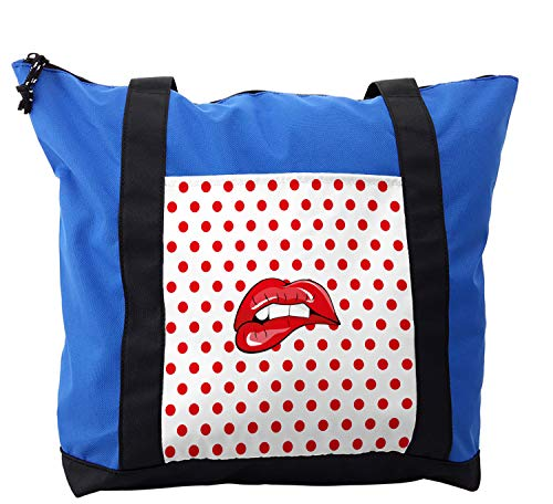 Lunarable Kiss Shoulder Bag, Polka Dotted Backdrop Cartoon, Durable with Zipper