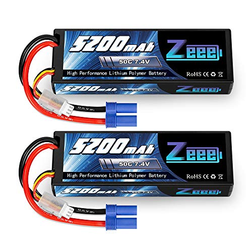 Zeee 2S 5200mAh 7.4V 50C Lipo Battery Hard Case Lipos with EC5 Plug for 1/8 1/10 RC Vehicles Car Slash RC Buggy Truggy RC Hobby(2 Pack)