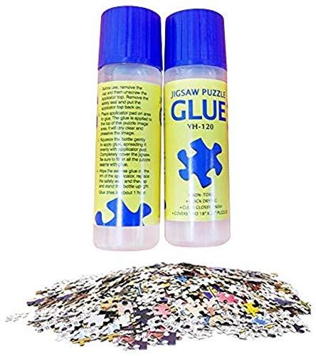 Jigsaw Puzzle Glue with Trowel Applicator Suitable for 500,1000,2000pcs Paper Puzzle, 120ML Bottle Liquid Glue Jigsaw Puzzle Accessory(2pack)